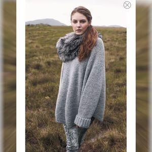New! Michael Kors Grey Poncho w/Removable Fur Trim
